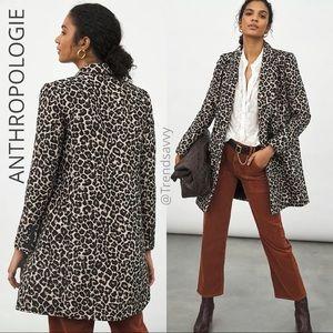 ANTHROPOLOGIE Longline Leopard Blazer Jacket Top